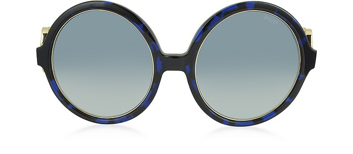 EP39 Large Round Acetate and Metal Women's Sunglasses - Emilio Pucci