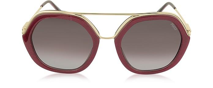 EP0014 Glitter Gold Metal & Acetate Round Sunglasses - Emilio Pucci