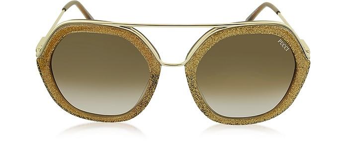 super popular a91e8 6eac8 EP0014 Occhiali da Sole in Metallo Oro e Acetato Glitter
