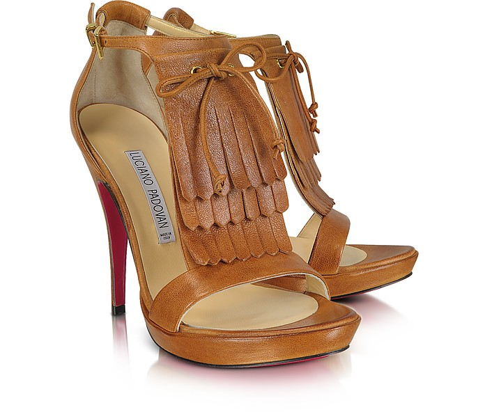 Brown Leather Fringed Sandal - Luciano Padovan