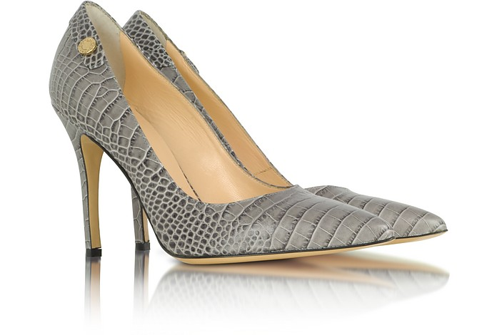 Gray Croco-Embossed Leather Pump - Luciano Padovan