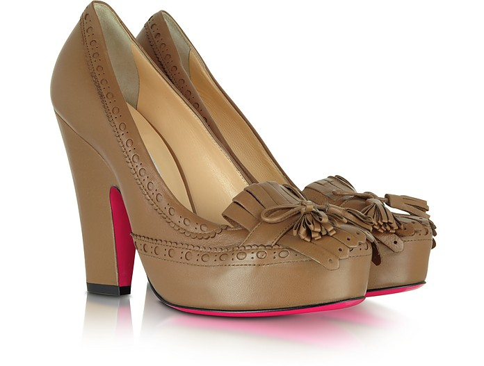 Brown Leather Pump - Luciano Padovan
