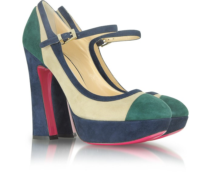 Blue, Green and Beige Suede Platform Pump - Luciano Padovan