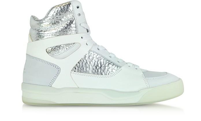 McQ Move Mid Women White and Silver Leather Sneaker - McQ Alexander McQueen x Puma