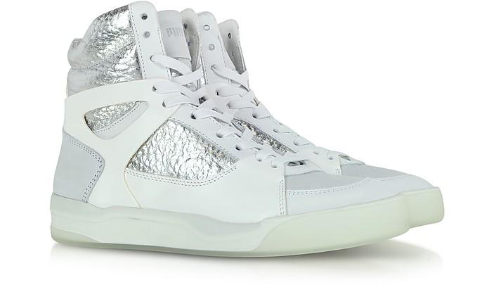 8bdbf95a079 McQ Move Mid Women White and Silver Leather Sneaker - McQ Alexander McQueen  x Puma.  150.00  375.00 Actual transaction amount