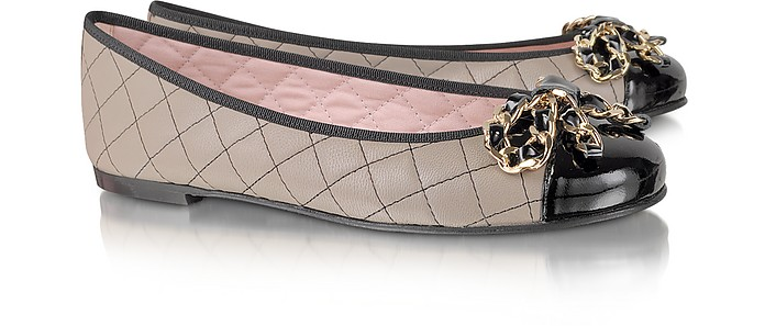 Quilted Leather Ballerina Shoes - Pretty Ballerinas
