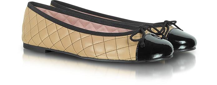 Rosario - Caramel Quilted Leather Ballerina - Pretty Ballerinas