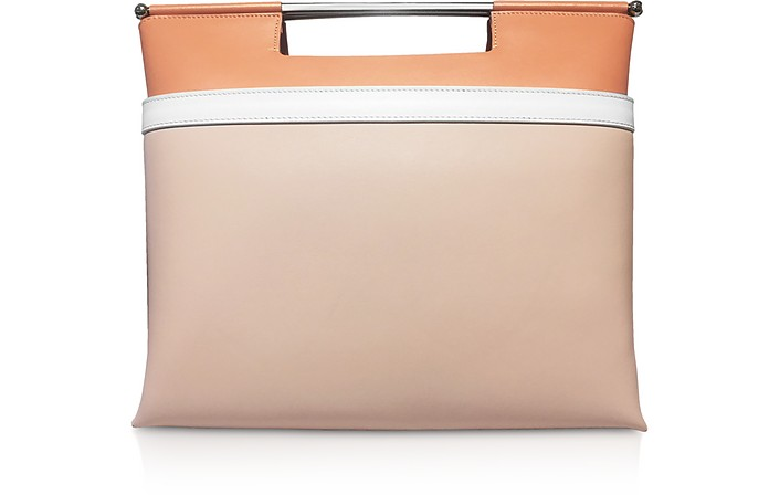 Color Block Leather Mid Gret Tote Bag - Delpozo