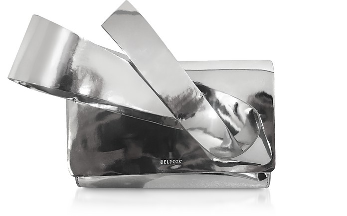 Silver Coated Canvas Orchid Clutch  - Delpozo