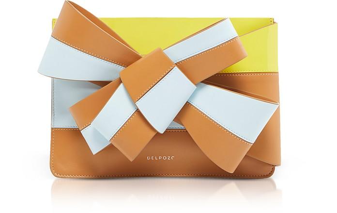 Color Block Leather Large Bow Clutch - Delpozo