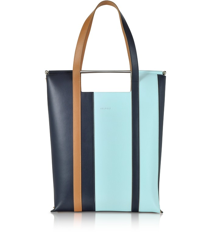 Vertical Striped Patent Leather and Calfskin Great Tote with Handles - Delpozo