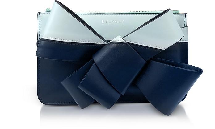 Striped Leather Mini Bow Clutch - Delpozo