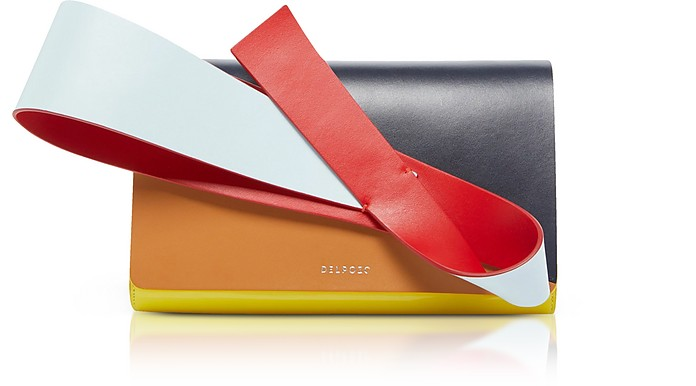 Color Block Patent & Smooth Leather Orchid Clutch Delpozo WZst19X