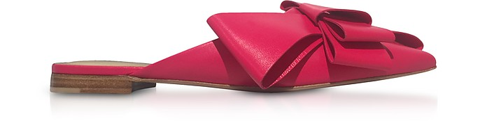 Genuine Leather Bow Mules - Delpozo