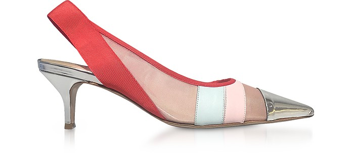 Color Block Leather and Mesh Sligback Shoes - Delpozo