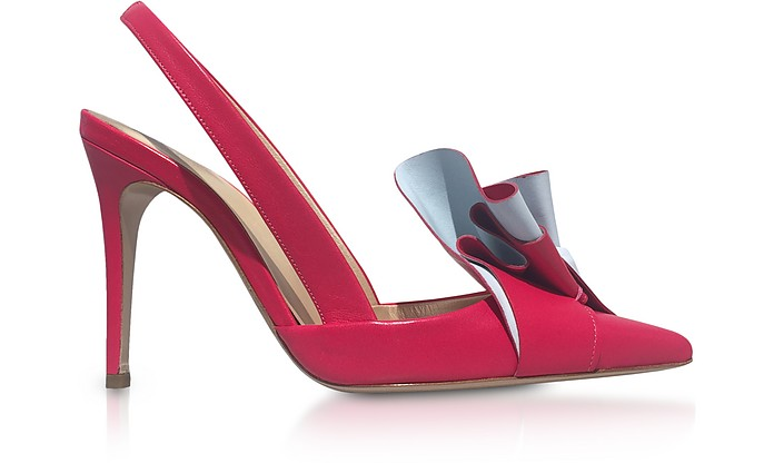 Two-Tone Leather Ruffle Slingback Pumps - Delpozo