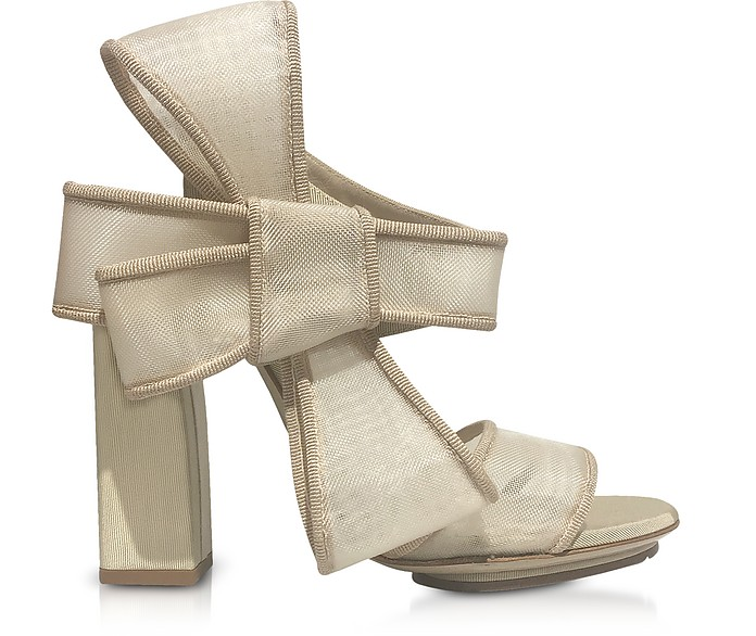 Beige High Heel Bow Sandals - Delpozo