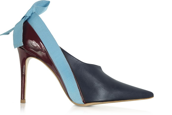 Marine, Light Blue And Burgundy Patent Leather Booties