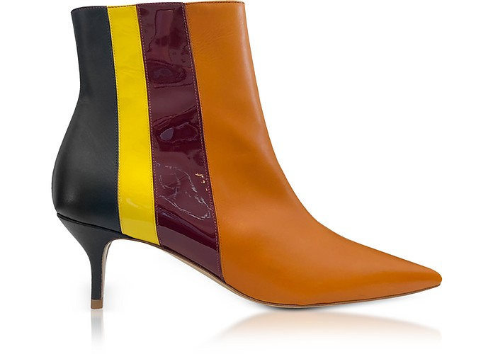 Vertical Stipes Tan Leather Mid-Heel Booties - Delpozo