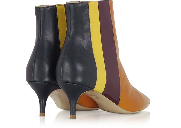 fb8dcfdb41a Vertical Stipes Tan Leather Mid-Heel Booties