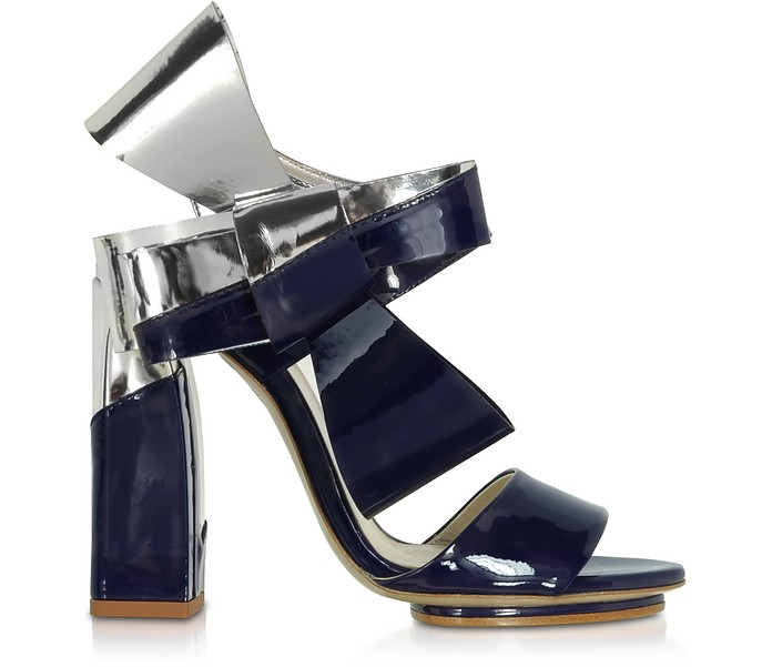 Silver and Navy Blue Patent Leather Bow Sandals - Delpozo / デルポソ