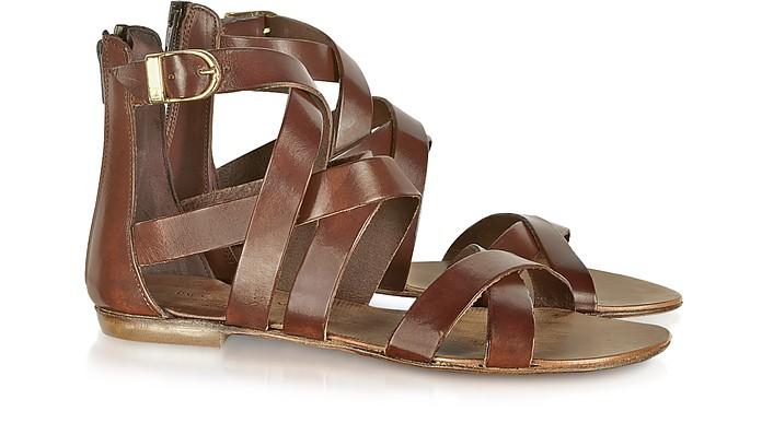 Nina Brown Leather Sandal - Palazzo Bruciato