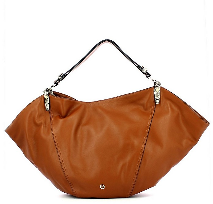 Brown Leather Bloodhound Medium Sombrero Bag - Borbonese
