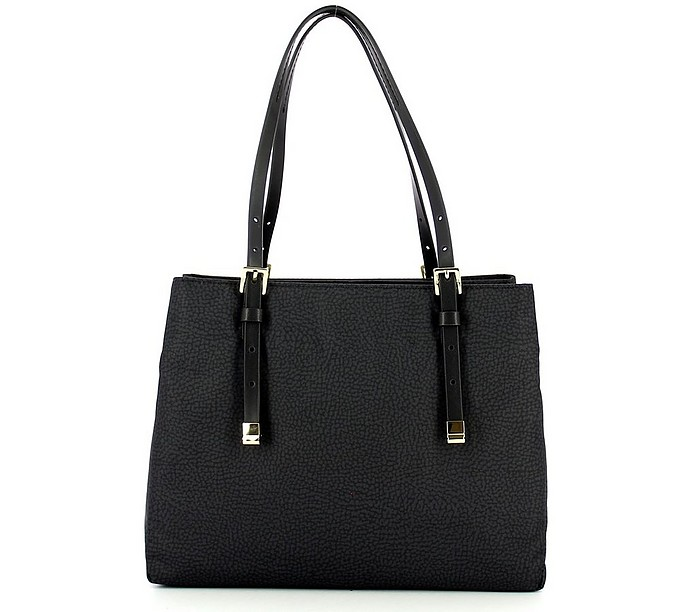 Black Medium Shoulder Bag w/Strap - Borbonese