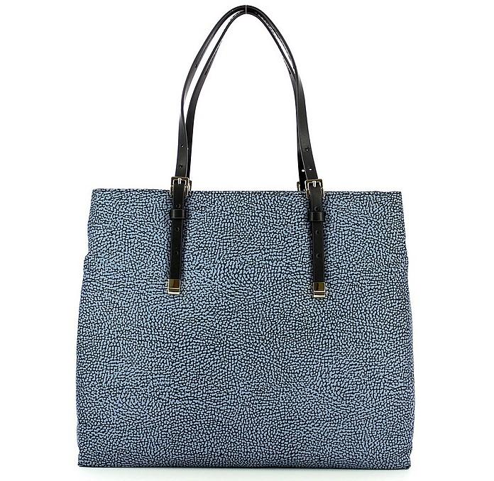 Blue Large Shopping Bag w/Shoulder Strap - Borbonese