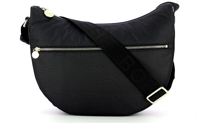 Black Middle Half-Moon Shoulder Bag - Borbonese