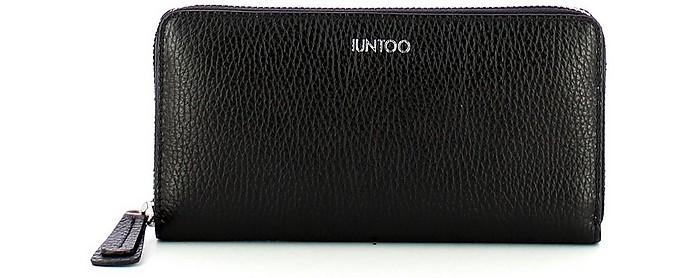 Black Leather Zip Around Large Armonia Women's Wallet - IUNTOO
