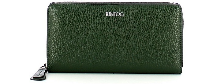 Green Leather Zip Around Large Armonia Women's Wallet - IUNTOO
