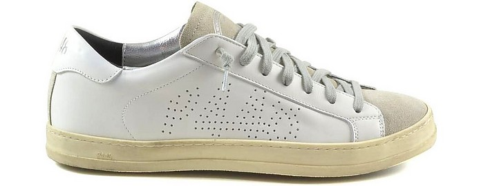 White Leather and Beige Suede Men's Sneakers - P448