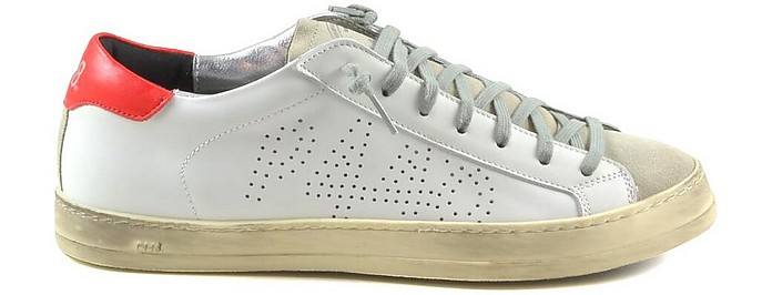 White/Red Leather and Beige Suede Men's Sneakers - P448