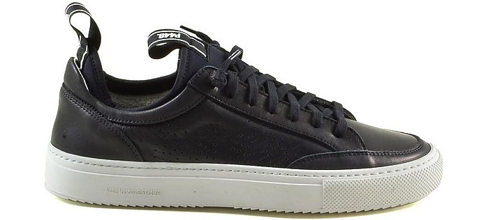 Black Leather Low-Top Men's Sneakers - P448