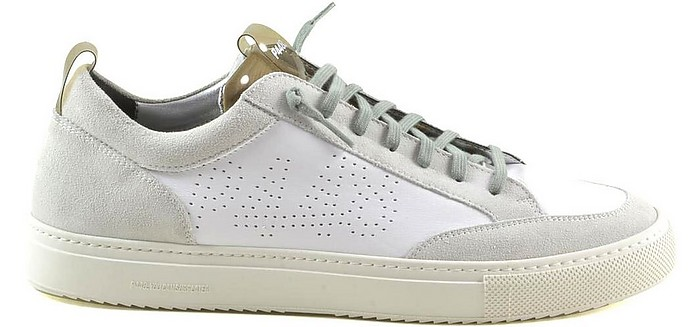 White Leather and Beige Suede Men's Tennis Sneakers - P448