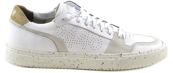White Leather and Light Gray Suede Men's Tennis Sneakers - P448