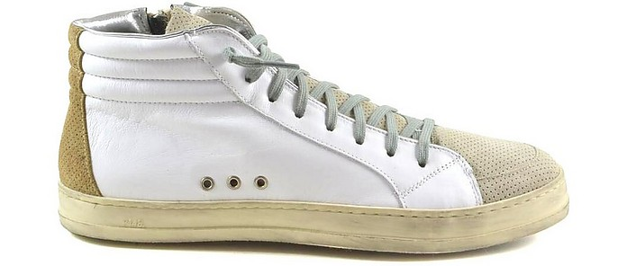 White Leather and Gray Perforated Suede Men's Mid-Top Sneakers - P448