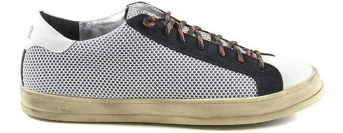 White and Dark Gray Perforated Leather and Suede Men's Sneakers - P448
