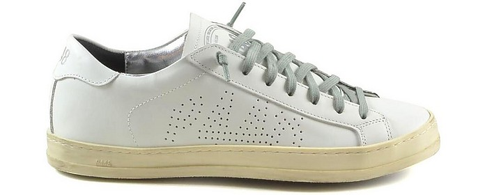 White Leather Men's Flat Sneakers - P448