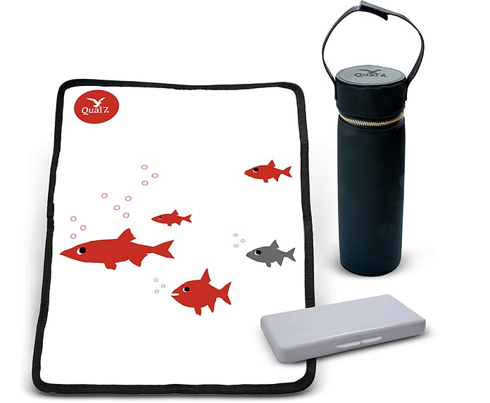 Black Nylon MUM Diaper Bag/Changing Set - Quai7