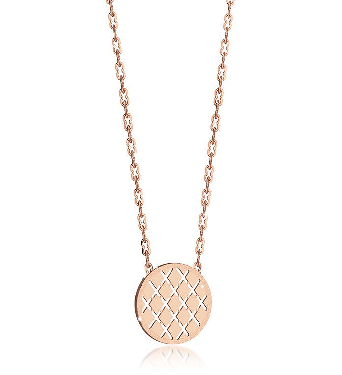 Melrose Rose Gold Over Bronze Necklace w/Round Charm - Rebecca / レベッカ