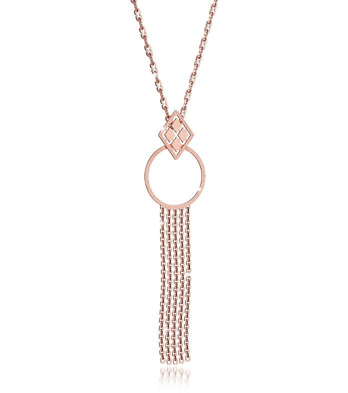 Melrose Rose Gold Over Bronze Cuff Necklace w/Geometric Charms - Rebecca