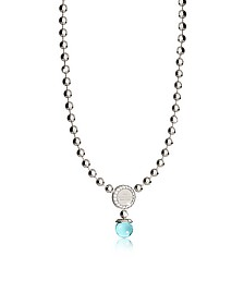 Boulevard Stone Rhodium Over Bronze Necklace w/Hydrothermal Turquoise Stones - Rebecca