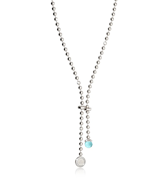 Boulevard Stone Rhodium Over Bronze Necklace w/Hydrothermal Turquoise Stone and Pendant Charm - Rebecca