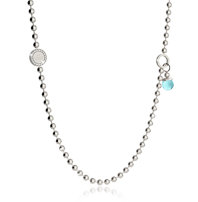 Boulevard Stone Rhodium Over Bronze Necklace w/Double Charms - Rebecca