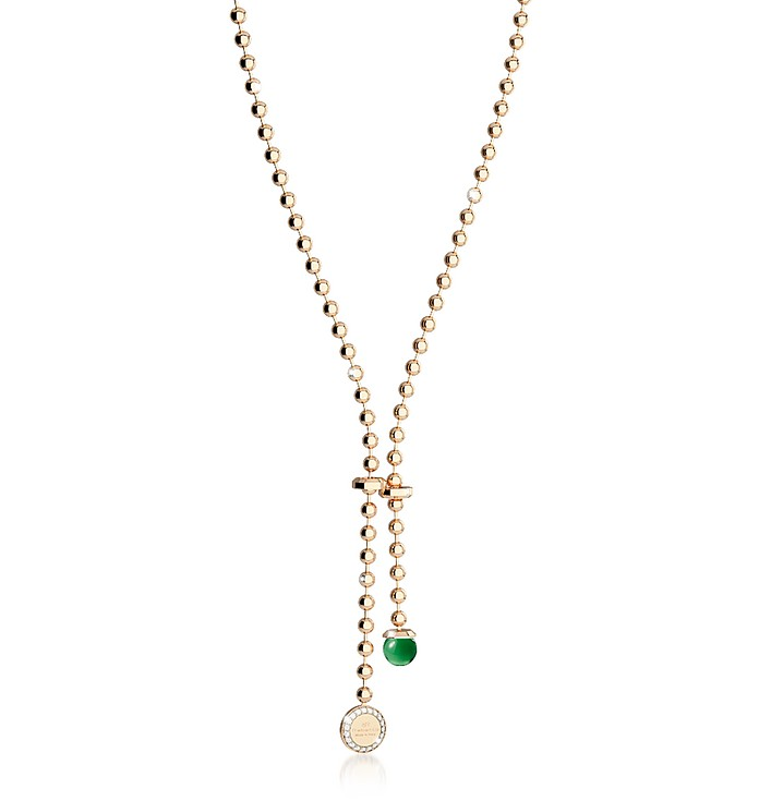 Boulevard Stone Yellow Gold Over Bronze Necklace w/Hydrothermal Green Stone and Pendant Charm - Rebecca
