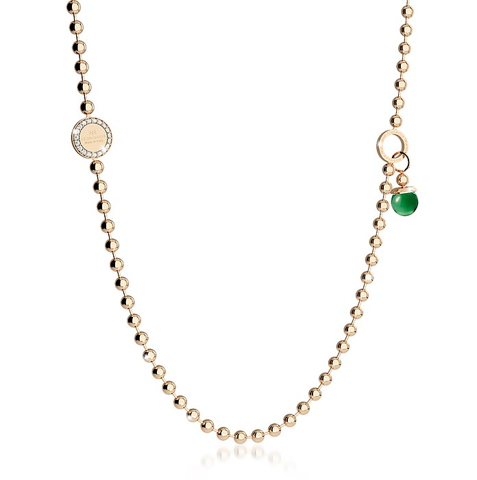 Boulevard Stone Yellow Gold Over Bronze Necklace w/Double Charms - Rebecca