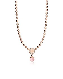 Boulevard Stone Rose Gold Over Bronze Necklace w/Hydrothermal Pink Stone - Rebecca