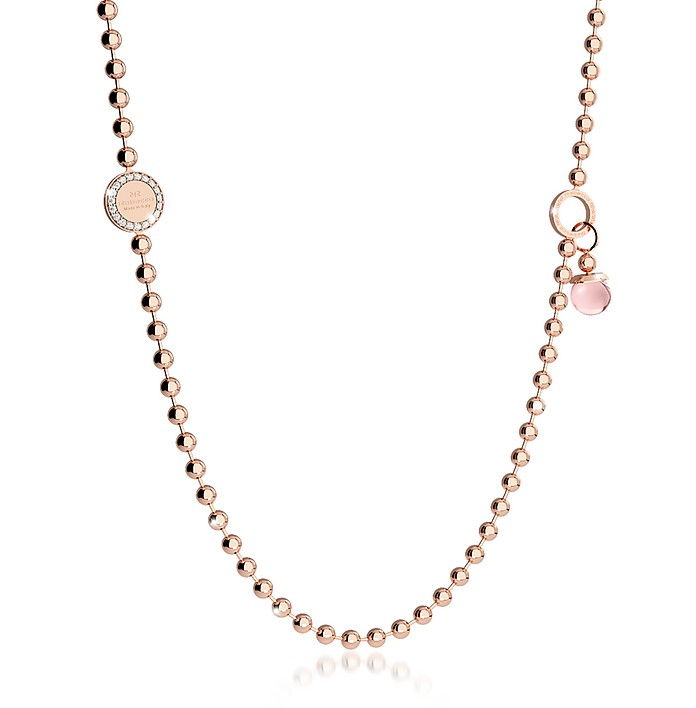 Boulevard Stone Rose Gold Over Bronze Necklace w/Double Charms - Rebecca
